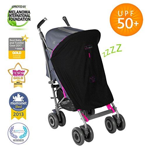 SnoozeShade Original - Sonnenschutztuch | UV-Schutz für Kinderwagen | Limitierte pinkfarbene Zierleiste