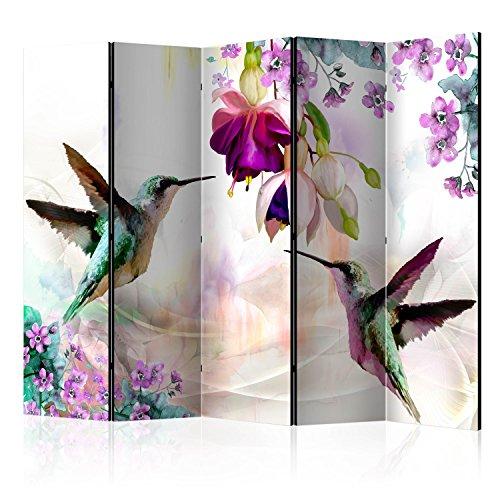 murando Raumteiler Kolibri Natur Blumen Foto Paravent 225x172 cm einseitig auf Vlies-Leinwand Bedruckt Trennwand Spanische Wand Sichtschutz Raumtrenner b-C-0188-z-c