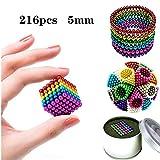 Educare Cube de Billes magnétiques - Diamètre 5 mm - 216 pièces - 6 Couleurs - Boîte de Rangement - Carte de Coupe