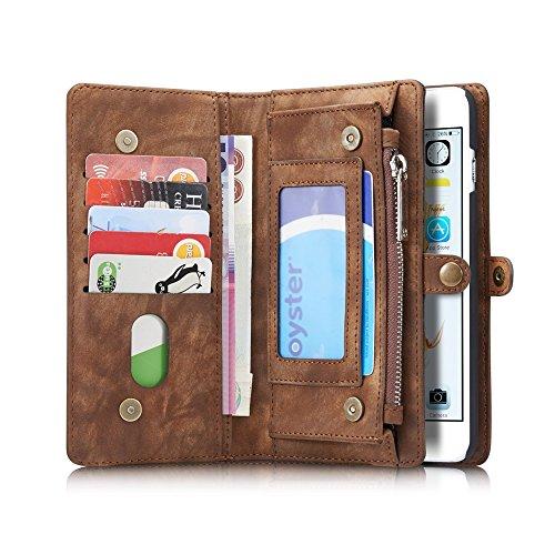 CaseMe Etui Protection Detachable Case Carte Slots Multifonctionnel Zipper Purse PU Couvertures en Cuir Fermeture Magnétique pour iPhone 6 plus / iPhone 6s plus Brun
