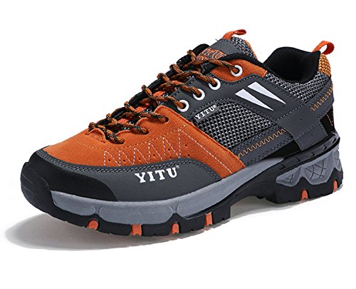 NEOKER Herren Wanderschuhe Wasserdicht Low Top Outdoorschuhe Sneaker Trekking Schuhe Orange 42