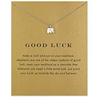 Underleaf Message Card Good Luck Card Elegant Necklace Elephant Pendant Necklace Woman Jewelry
