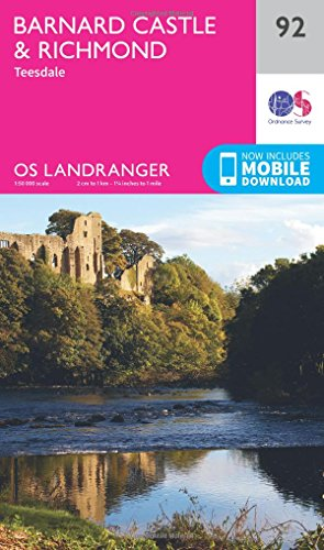 Barnard Castle and Surrounding Area 2016 (OS Landranger Map, Band 92) - Barnard Castle