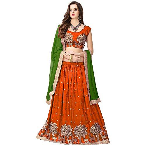 S R Fashion Womens Lehngha Choli With Dupatta For Girls(FWLC_Various_Colors_Jhoya_Silk) (Orange)
