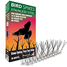 Aspectek acero inoxidable Kit de puas para pajaros, 10 pies (3) Metros. Perfecta disuasión para aves. Sin pegamento