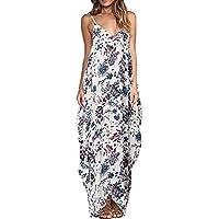 Highdas Damen Sommerkleid Taschen V-Ausschnitt Ärmellos Strandkleider Boho  Casual Lang Maxikleid Cocktail Beachwear S 9f519f7fe1