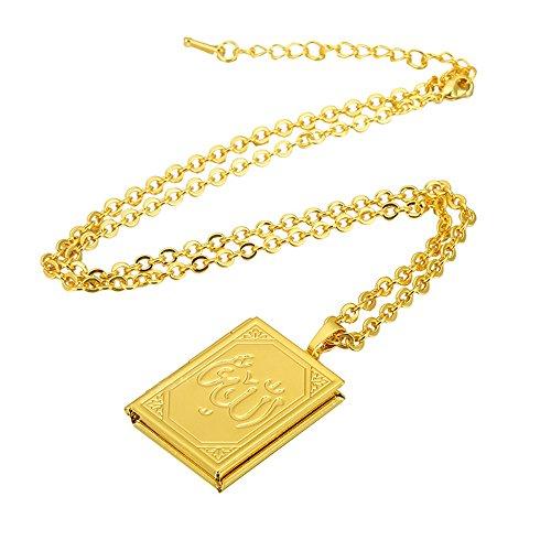 Dunbasi Medaillon Foto Kette+Anhänger Islamische Gott Allah Muslim Muslimischer Halskette Verstellbare Kette Gold und Silber Farbe Schmuck (Golden)