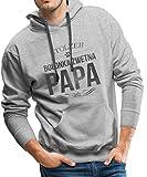 Spreadshirt Stolzer Bolonka Zwetna Papa Hund Männer Premium Hoodie, XL, Grau meliert