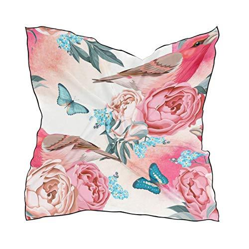 Hipiyoled Cute Bird Butterfly Floral Print Women's Polyester Square Scarf Chiffon Lightweight Neck Head Scarves Kerchief for Women Girls