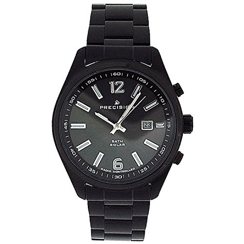 Precision Radio Controlled Solar Powered Gents Black Plated SS Watch PREW1107