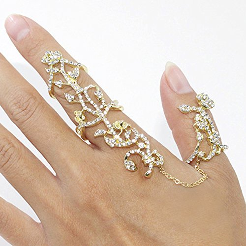 Personalized Womens Girls Multiple Rhinestone Stack Knuckle Ring Finger Jewelry (Golden)