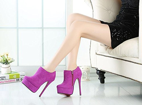 HeiSiMei Women's Heels / kurze Aufladungen / Stilett-Ferse / runde Zehe / dicke wasserdichte Plattform / Peep Toe Pumps / Nightclub / Party & Evening / Herren / Unisex PURPLE-EU42