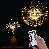 Catena di luci a LED con telecomando Luci di Natale all'aperto a batteria, fuochi d'artificio che esplodono, bianco caldo (120 luci)