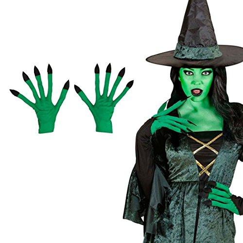 Kostüm Zauberin Zubehör - NET TOYS Hexen Handschuhe Zauberin Hände grün Hexenhandschuhe Grüne Hexenhände Walpurgis Alien Faschingshandschuhe Halloween Kostüm Zubehör