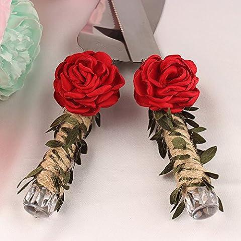 Lugii Cube Rose rouge Décoration fête de mariage Ensemble de pelle et couteau à gâteau avec lames en acier inoxydable et lin Ficelle de corde enroulée Poignées