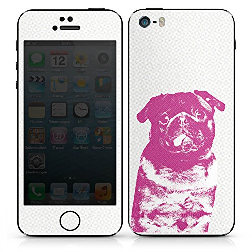 Apple iPhone SE Case Skin Sticker aus Vinyl-Folie Aufkleber Pink Pug Hund Mops DesignSkins® glänzend