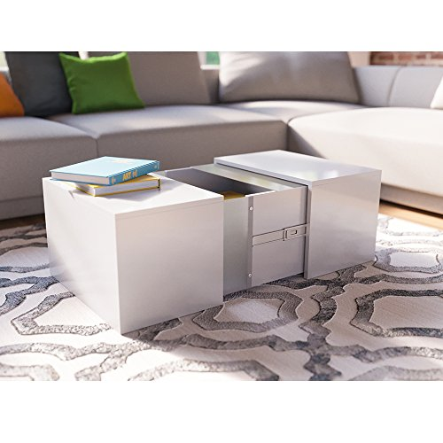 Couchtisch LED Weiss Hochglanz Loungetisch Wohnzimmer