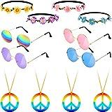 El Juego de Accesorios de aderezo Hippie de 12 Piezas Incluye 4 Pares 60 Gafas de Colores Circulares de los años 4 Diadema con Corona de Girasol 4 Piezas Collar de Arco Iris con diseño