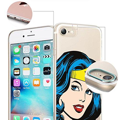 finoo | iPhone 6 / 6S Weiche flexible lizensierte Silikon-Handy-Hülle | Transparente TPU Cover Schale mit Wonder Woman Motiv | Tasche Case mit Ultra Slim Rundum-schutz | Every Mom Portrait Color smile
