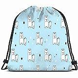 Bear Polar Animals Wildlife Mochila con cordón Gym Gimnasio Espacioso Pull String Backpack Bolsa de Almacenamiento Multifuncional 14.2 X 16.9 Pulgadas