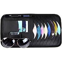 AIU Multifunktions Auto CD Tasche Auto Sonnenblende Tasche CD Organizer, Stifthalter, Kartenhalter, Brillenhalter (schwarz)