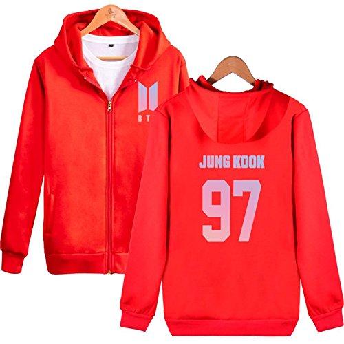 SIMYJOY BTS KPOP Fans Felpa con cappuccio BTS Pullover Hip Hop Felpa per Uomo Donna Adolescente rosso-97
