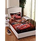 Athom Trendz Disney Cars 180 TC Cotton Single Bedsheet With 1 Pillow Cover - Red