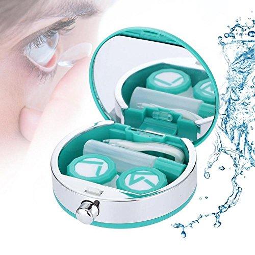 Kontaktlinsenbehälter, Mini-Kontaktlinsenhalter Augenpflege Linsen-Koffer-Set Cute Lovely Travel Kit Box(Grün)