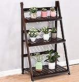 estantes para plantas Soporte plegable de madera de la maceta de 3 niveles Jardinera del jardinero Escalera de visualización Jardinero Estantes de almacenamiento Titular de la hierba del estante (63L X 40W X 106H (cm)) ( Color : 4 )