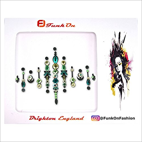 GREEN & GOLD FACE GEM- FACE JEWELS FOR FESTIVALS -BODY JEWEL TATTOO- ALL IN ONE STICK ON BINDI- RHINESTONE JEWELLERY HEADPIECE - FESTIVAL MAKEUPMOON CHILD - BC12grg