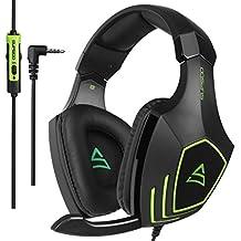 Cascos Gaming, SUPSOO G820 Súper Cómodo Bajo Profundo Professional Auriculares para PC con Cancelación de Ruido de Mic Compatible PS4 Xbox one Laptop Mac(negro y verde)
