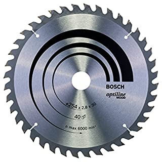 Bosch Professional Zubehör 2608640443 Kreissägeblatt Optiline Wood 254 x 30 x 2,8 mm, 40