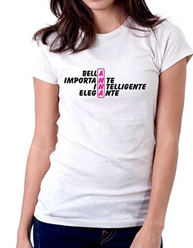 Tshirt Tshirt con nome Anna e aggettivi simpatici - idea regalo - Tutte le taglie Bianco