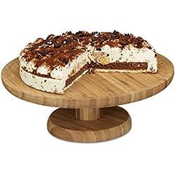 Relaxdays–Plato para tartas redondo, 33cm, de bambú, con Stand, H x D: aprox. 11,5x 33cm, natural