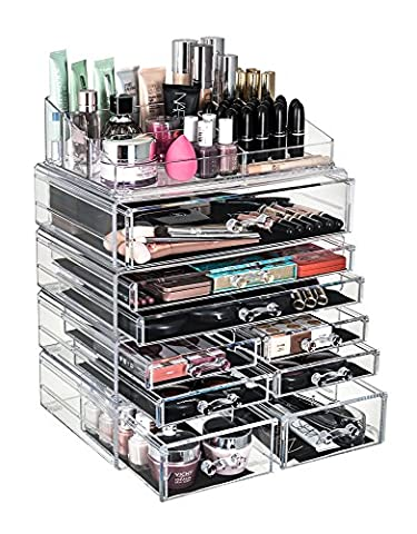 GLAMSMACKED ® Professional Clear Acrylic 9 Drawer Cosmetic Organiser with