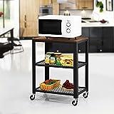 VASAGLE Servierwagen im Industrie-Design, Küchenwagen, Rollwagen, Küchenregal, aus Holz und Metall, auf 4 Rollen, 3 Ebenen für Küche und Wohnzimmer, Vintage LRC78X - 4