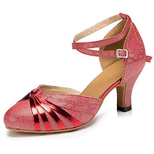 Minitoo qj6133Damen Geschlossen Zehen High Heel PU Leder Glitzer Salsa Tango Ballsaal Latin t-strap Dance Schuhe, Rot X-strap/Red-6cm Heel ,40 EU/7 UK