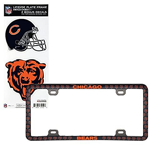 Chicago Bears Thin Rim License Plate Frame with Decals by