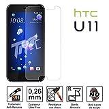 TM-Concept Vitre de protection écran - HTC U11 / HTC U11 Dual Sim - Verre Trempé HQ ultra résistant (contre la casse & les rayures) - Ultra Slim (0,26mm) avec bords arrondis - Installation facile et sans bulle d'air - Protection et un confort d'utilisation optimal pour votre HTC U11