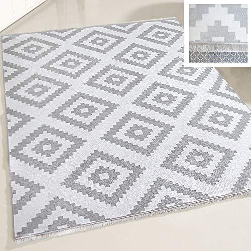 mynes Home Teppich waschbar Wohnzimmerteppich Küche Flur Kinderzimmer Arbeitszimmer grau weiß skandinavisches Design KELIM Style (160 x 230cm)