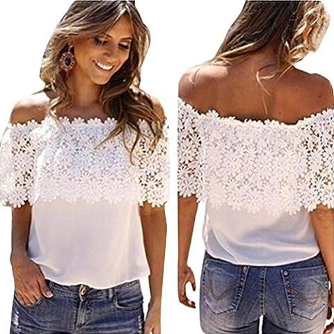 Sexy Women Off Shoulder Casual Tops Blouse Lace Crochet Chiffon Shirt (M, white)
