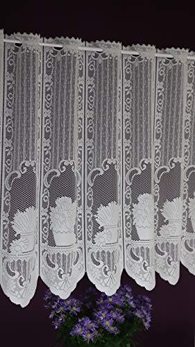 Albani - tenda a pannello su misura, in tessuto jacquard, stile rustico, con passanti per asta, altezza 60 cm, larghezza 13,5 cm, colore: ecru