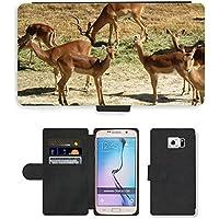 PU Flip Carcasa Funda de Cuero Piel Cubre Case // M00111444 Antelope Impala Horns Mammiferi // Samsung Galaxy S6 (Not Fits S6 EDGE) - Impala Horn