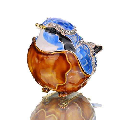 H&D Vogel Schmuckkästchen Ostern Day Birthday Gifts feine Zinn Boxen Edelsteinbesetztes Box mit Crystal Jewelry Organizer (Kommode Box Zinn)