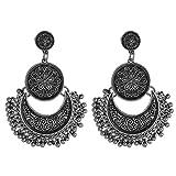 Yazilind mujeres gota cuelga stud pendientes con cuentas de media luna colgante flor retro étnico de la vendimia encantos boho joyería de plata
