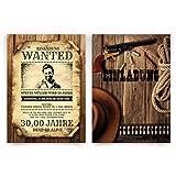 Einladungskarten (30 Stück) zum Geburtstag als Wanted Kopfgeld Poster