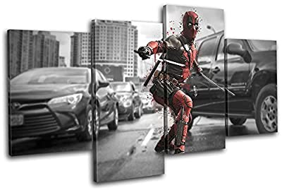 Bold Bloc Design - Deadpool Movie Superhero Movie Greats MULTI Canvas Art Print Box Framed Picture Wall Hanging - Hand Made In The UK - Framed And Ready To Hang - low-cost UK light store.