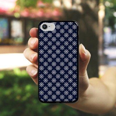 Apple iPhone X Silikon Hülle Case Schutzhülle Steuerrad Muster Matrose Hard Case schwarz