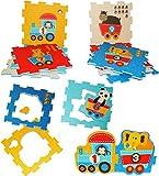 alles-meine.de GmbH XL Set: Puzzle Teppich aus Moosgummi -  Eisenbahn mit Tieren  - 9 Matten - aus Schaumstoff - zum puzzeln / Puzzleteppich Eva - Spieleteppich Puzzlematte - S..