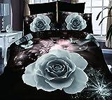 4Brilliant Weiß Rose 3D Prints Bettbezug Set für Doppelbett Größe